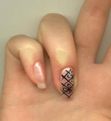 Nail-art - BlackAndPink by Shangova