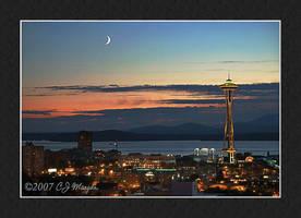 Moon Over Elliott Bay by e-CJ