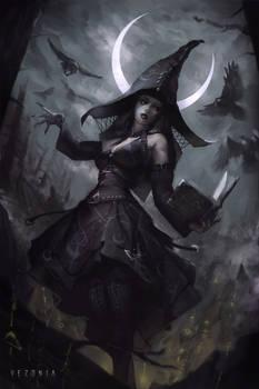 Witch Under Cresent Moon by VezoniaArtz