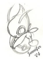 Celebi on a Pokeball sketch by chibi-jen-hen
