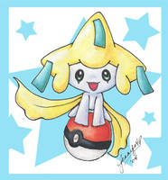 Jirachi on Pokeball colored by chibi-jen-hen