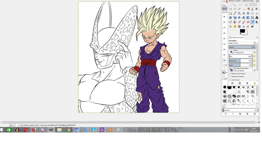 Teen Gohan SSJ2 vs Cell colorisation in progress by Gin-Sora