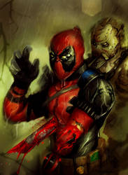 Deadpool vs Jason Voorhees by suspension99