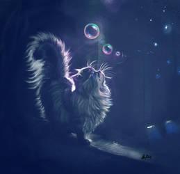 Kitten Watching Bubbles by ArtofOkan