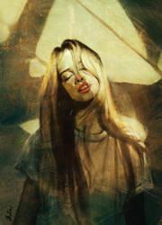Blonde girl feeling the sunshine by ArtofOkan