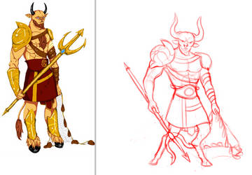 Minotaur OC side by side sketch by AmourFonce