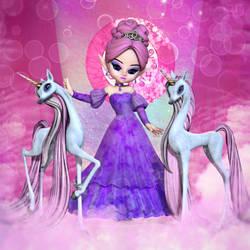 The Unicorn Princess - toon version by RavenMoonDesigns