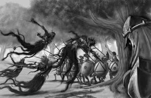 Shadow Trolls Battling Hoplites by quellion
