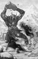 Shadow Trolls Fighting Cyclops Bisonbrood by quellion