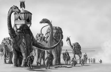 Desert Trade Caravan by quellion