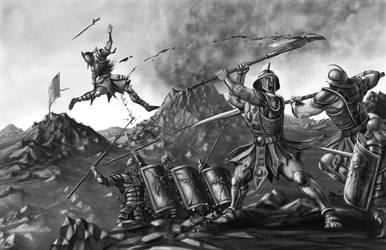 Halodyne Ogres Fighting Mortan Legionnaries by quellion