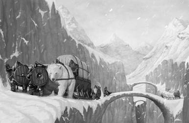 Mountain Trade Caravan by quellion