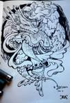 Inktober: A mermaid and her dragon by ZLynn