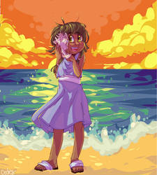 by the sea skies she listens to a seashell by lovebby