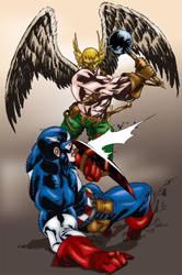 Captain America vs Hawkman by MarcBourcier
