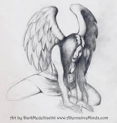 Pensive Angel by DarkMedellia686