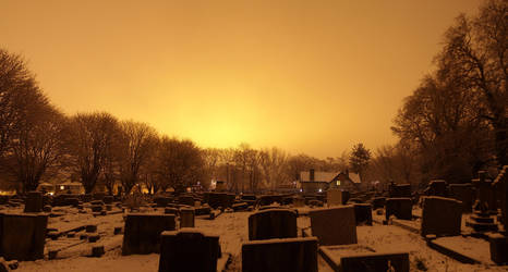 glow over gravestones by bebadawn