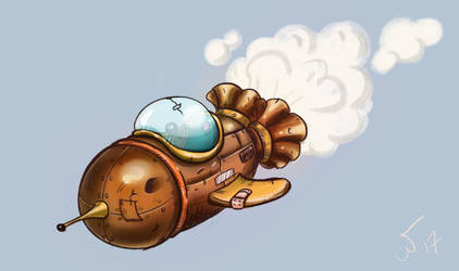 steampunk ship sketch by wampir00