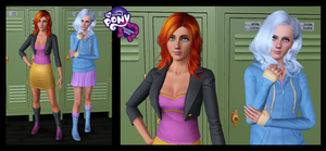 The Sims 3: MLP EG Sunset Shimmer and Trixie by Tx-Slade-xT