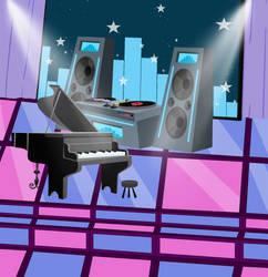 DJ Penthouse Stage with Light-up Dancefloor by Obeliskgirljohanny
