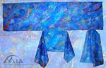 Blue with ornaments scarf by MiaErrianIrielynn