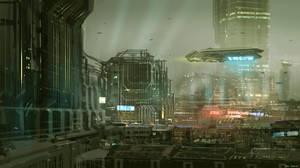 CoffeePainting: Sci-fi city by MacRebisz