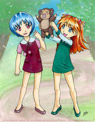 Rei and Asuka as Kiddies by kina