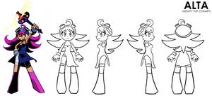 Model Sheet - Alta from MIGHTY FLIP CHAMPS! - V2 by lazyradly