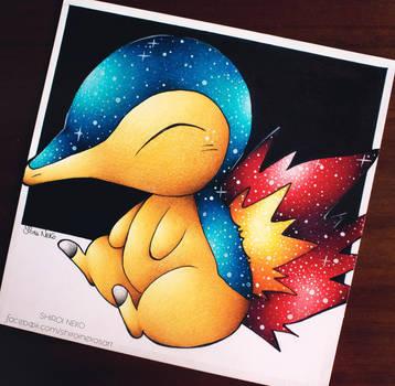 Pokemon, Cyndaquil (galaxy) by ShiroiNekosArt