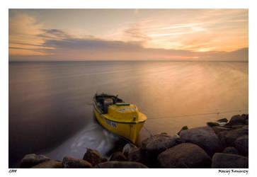 Boat at sunset 2 by Maciej-Koniuszy