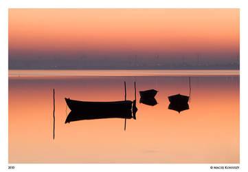 Boats at dusk by Maciej-Koniuszy