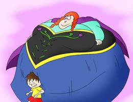 COM Anna belly bumps Nova by Robot001