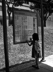 Little Girl At The Bus Stop by Archblood