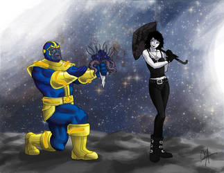 Thanos and Death by wildcard24
