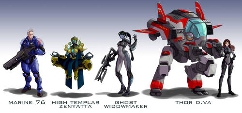 Overwatch Blizzard mashup skins by wildcard24