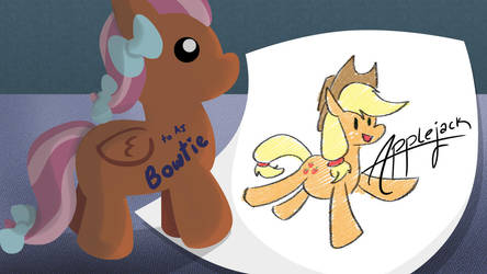 Bowtie and Applejack by CrownePrince
