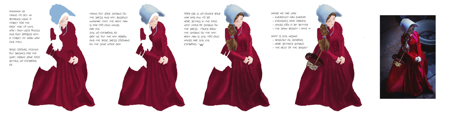 First steps with a graphic tablet - Handmaid WIP by chakaru