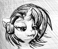 Vinyl Scratch black and white portrait by xbi