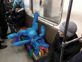 Rainbow Dash is sitting in the subway train photo by xbi