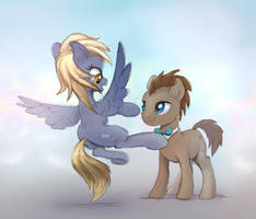 Derpy and Doctor Whooves in the mist by xbi