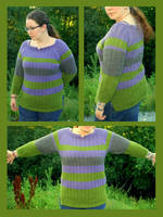 Striped lace summer pullover by KnitLizzy