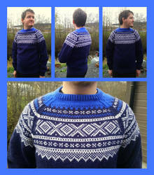 Double blue Marius fair-isle sweater with raglan by KnitLizzy