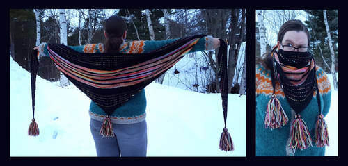 Beastkeeper hand dyed rainbow shawl by KnitLizzy