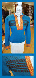 Cropped turquoise sweater by KnitLizzy