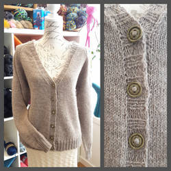 Beige raglan cardigan with v-neck by KnitLizzy