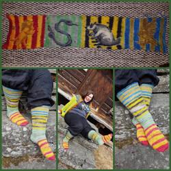 Hogwarts houses socks + sockblank by KnitLizzy