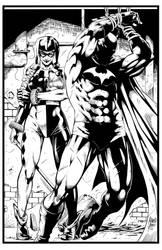 Batman an Harley Quinn by Marcio Abreu. Inks by CB by CB-ComicArt