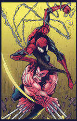 Spidey and Wolvie by Sandoval-Art. Colours by CB. by CB-ComicArt