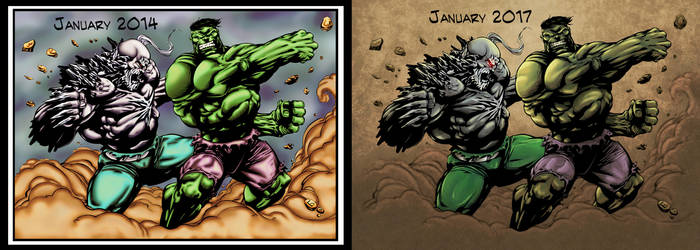 Hulk vs Doomsday Colors 2014 vs 2017 by CB-ComicArt