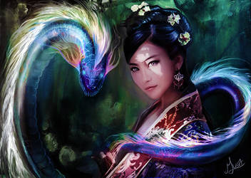Chinese woman and dragon snake by musane